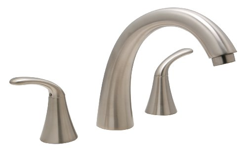 Huntington Brass 14730-72 8-Inch - 16-Inch Builders 2-Handle Deck-Mount Roman Tub Faucet, Satin Nickel