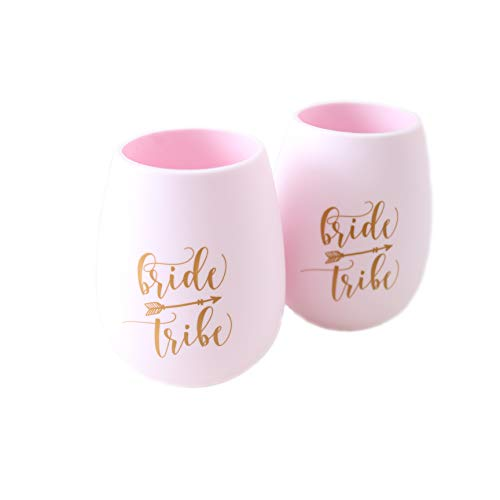 Set of 2 | Bride Tribe Silicone Stemless Wine Cups | For Bachelorette Parties, Bridal Showers, Pool Parties, Weddings | Shatterproof Wine Glass by CaliRustic (Pink) ()