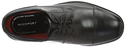 Black Leather Stringate Scarpe Detail Essential Rockport Uomo Captoe Black II nwS0Xx1q