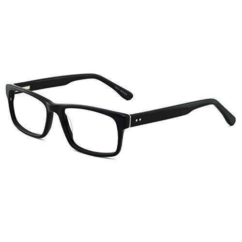 OCCI CHIARI Men Fashion Rectangle Stylish Eyewear Frame With Non-Prescription Clear Lens (C-Black, 54)