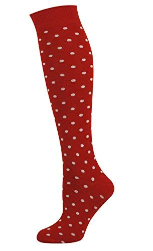 Polka Dot Knee Socks - Mysocks Unisex Knee High Long Socks Polka Dot Design Red