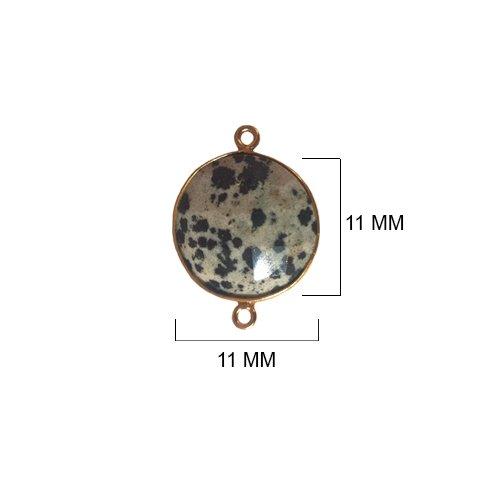Dalmatian Jasper - Dalmatian Jasper Stone - Dalmatian Jasper Beads - Dalmatian Jasper Coin 11 mm Gold Bezel Double Loop - Bezel Gemstone Connectors - Bezel Coin – Bezel (Jasper Coin Pendant Beads)