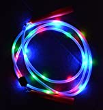 Light Show Jump Rope - 24 Light Up Neon LED Lights - For Kids and Adults - Durable Plastic Handles - Two CR2025 Batteries Included