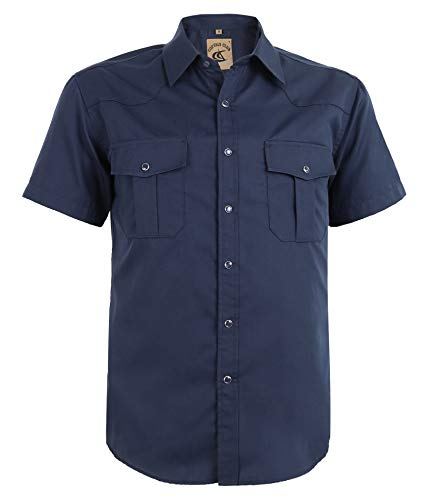 (Coevals Club Men's Button Down Solid Short Sleeve Work Casual Shirt (Navy #6, M))