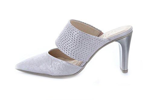 Gris Plateado Vestir de Para de Topo Mujer Hispanitas Piel Zapatos T8qx6f