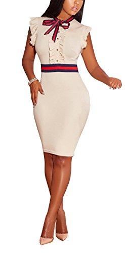 LKOUS Women's Summer Elegant Bowknot Sleeveless Ruffle Bodycon Midi Dress Plus Size S-3XL Cream