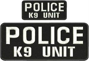 (Police K9 Unit Embroidery Patches 4X10 and 2X5 Hook ON Back White Letters by HighQ Store)