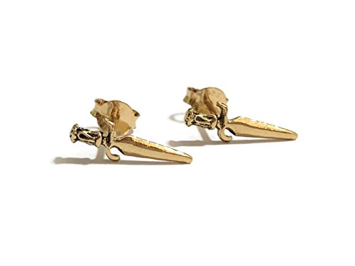 - GreenCatJewelry 20g (0.8mm) 925 Sterling Silver Cartilage Earrings Small Cute Dagger Knife Sword (14k Gold Plated)