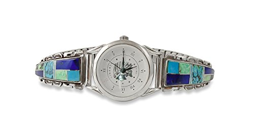 Navajo Silver Lapis Turquoise Multi Inlay Watch Tips