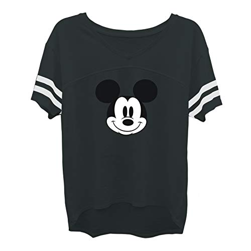 Disney Ladies Mickey Mouse Fashion Shirt - Ladies Classic Mickey Mouse Clothing Mickey Mouse Burnout Hockey Tee (Black Burnout, X-Large)