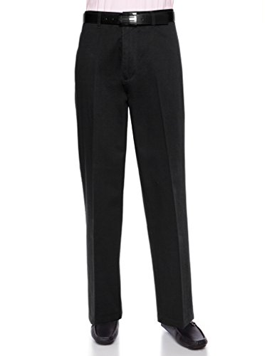 AKA Men's Wrinkle Free Cotton Twill - Traditional Fit Slacks Flat-Front Chino Straight-Legs Casual Pants Black 36 X-Short
