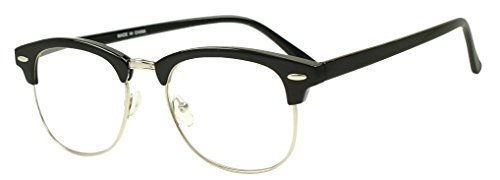 Sunglass Stop - Vintage Retro Hipster Buddy Horn Rimmed Nerd Glasses (Glossy Black | Silver , Clear - Sunglasses Dorky