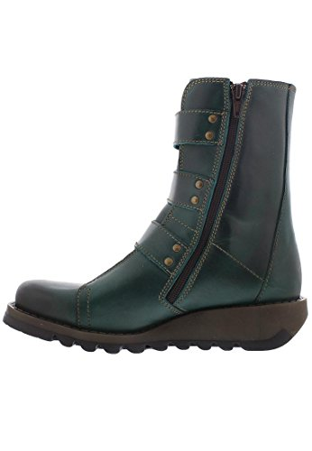 Fly London Women's Scop Rug Leather Buckle / Zip Boot Petrol-Petrol-8 Size 8