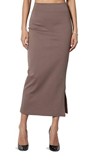 Blend Long Skirt - TheMogan Women's Side Slit Ponte Knit High Waist Mid-Calf Pencil Skirt Mocha S