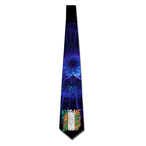 Kiss Me My DNA Says Im Irish Mens Necktie Classic Silk Tie Woven Jacquard Neck Ties (Dna Silk Tie)