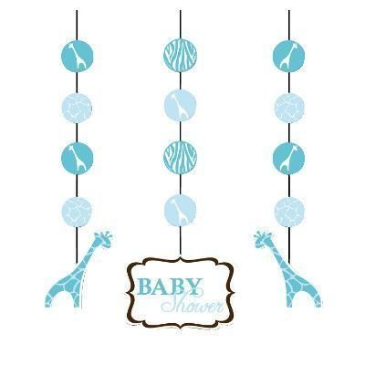 Creative Converting Baby Shower Wild Safari Blue 3 Count Hanging Cutouts (Animals Hanging Cut Out)