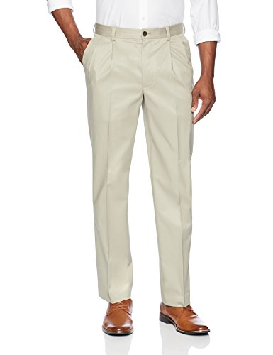 (BUTTONED DOWN Men's Relaxed Fit Pleated Stretch Non-Iron Dress Chino Pant, Khaki, 38W x 30L)