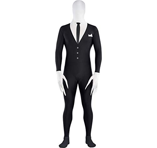 Amscan Slender Man Partysuit Halloween Costume for Adults, Extra Large, with Double Zipper -