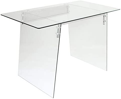WOYBR Glass, Stainless Steel Glacier Desk 47.25 Wx25.75 Lx30 H Clear Chrome