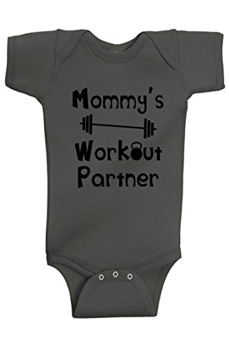 Reaxion Aiden's Corner - Mommy's or Daddy's Workout Partner Bodysuits - Funny Baby Boy & Girl Clothes (6 Months, Mom_Charcoal)