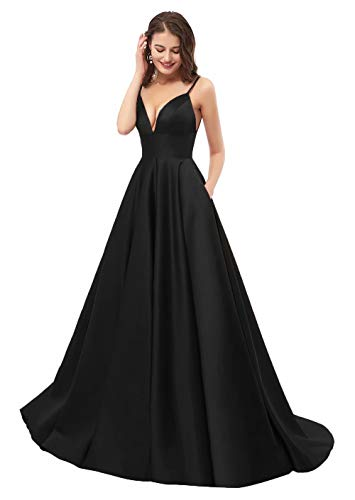 Womens Spaghetti Strap V Neck Prom Dresses Long 2019 A-line Satin Formal Evening Ball Gowns with Pockets Black, size 10