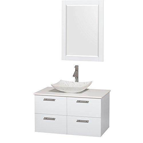 Stone Man Made (Wyndham Collection Amare 36 inch Single Bathroom Vanity in Glossy White, White Man-Made Stone Countertop, Arista White Carrera Marble Sink, and 24 inch Mirror)
