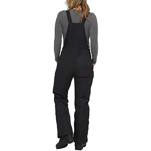 Overoles con pechera con aislamiento para Mujer, Pantalones con tirantes de UNA pieza, Pantalones de esquí, bolsillo de Color sólido, tirantes de UNA pieza(Negro,M)
