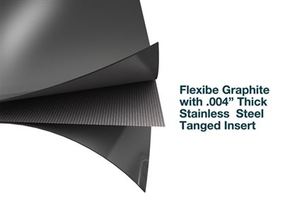 Flexible Graphite with .004 SS Tanged Insert 1//16 Thick 19 x 19 Sheet
