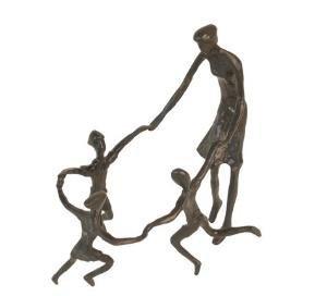 Mother with Children Bronze Sculpture
