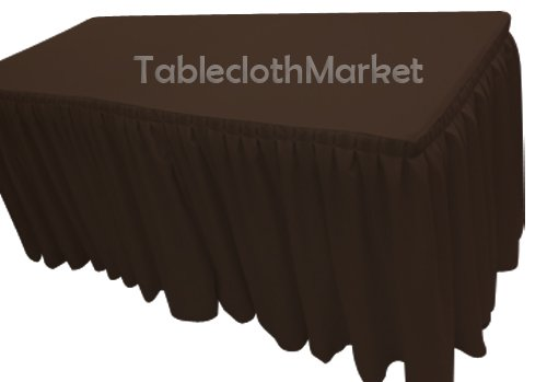 6' Ft. Fitted Tablecloth Double Pleated Polyester Table Skirt Cover W/top Topper Chocolate - Design Pleated Double