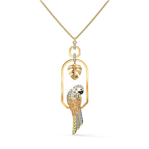 SWAROVSKI Women's Tropical Leaf and Parrot Design, Gold-Tone Finish, Necklace & Earrings Crystal Jewelry Collection
