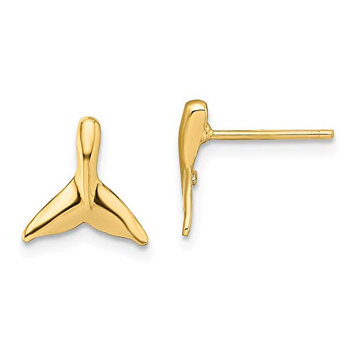 14k Yellow Gold Mini Whale Tail Post Stud Earrings Animal Sea Life Fine Jewelry Gifts For Women For Her