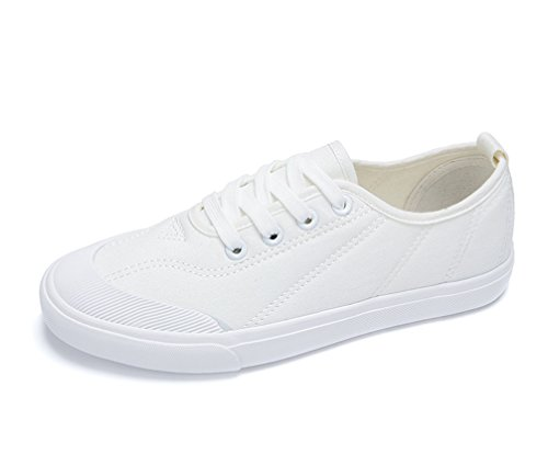 VECJUNIA Ladies Fashion Stitching Lace Up Lightweight Low Top Flat Canvas Sneakers White jjFVhNW4qO
