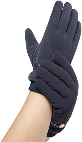 手袋 日常 実用 手袋メンズ冬暖かいプラスベルベット太い防水コールドタッチスクリーン手袋 (Color : Blue, Size : One size)