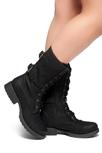 Herstyle Florence2 Women's Military Lace Up, Double Buckled, Middle Calf Combat Boots Black 8.5