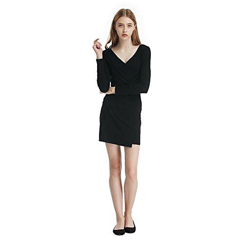 Profonde Des Femmes Benala V-cou Robe Longue Jupe Pli Hanche Simple Paquet Mince Manches Noir