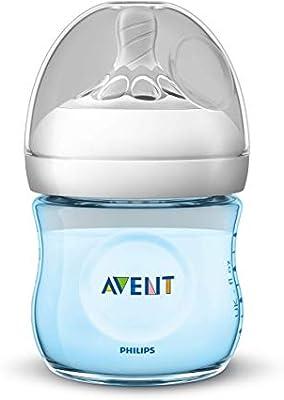 Philips Avent Biberón Natural SCF032/17 - Biberón de 125 ml con tetina con flujo para recién nacidos, diseñada para imitar el tacto del pecho, 0% BPA, 0m+, color azul: Amazon.es: Bebé