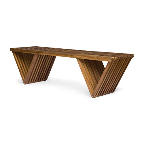Great Deal Furniture Esme Outdoor Acacia Wood Bench, Teak Finish For Sale