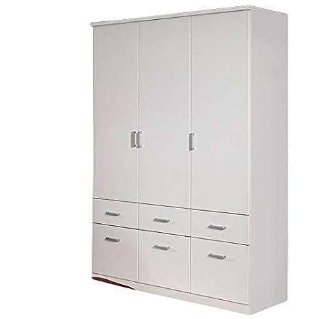 Kleiderschrank weiß 3 Türen B 136 cm Schrank Drehtürenschrank Wäscheschrank  Kinderzimmer Jugendzimmer Kinderzimmerschrank