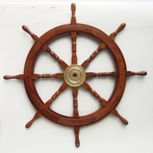 Large 36'' Boat Ship Wooden Steering Wheel Brass Center Nautical Wall Decor by Nautical Home Decoration