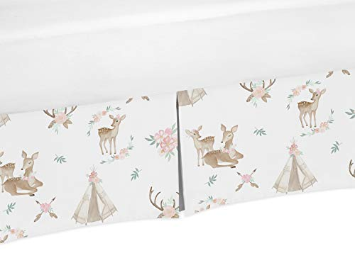 Sweet Jojo Designs Blush Pink, Mint Green and White Boho Girl Pleated Baby Crib Bed Skirt Dust Ruffle for Woodland Deer Floral Collection from Sweet Jojo Designs