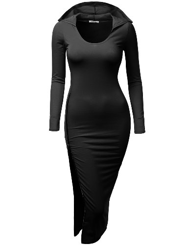 [Doublju Fitted Dress with Sexy Side Zipper Point (Plus Size Available) BLACK SMALL] (Cheap Plus Size Fancy Dress)