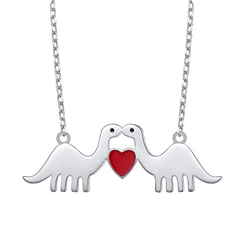 - DAOCHONG 925 Sterling Silver Animal Love Red Heart Dinosaur Pendant Necklace for Women Girls Girlfriend Wife Birthday Gift, 18