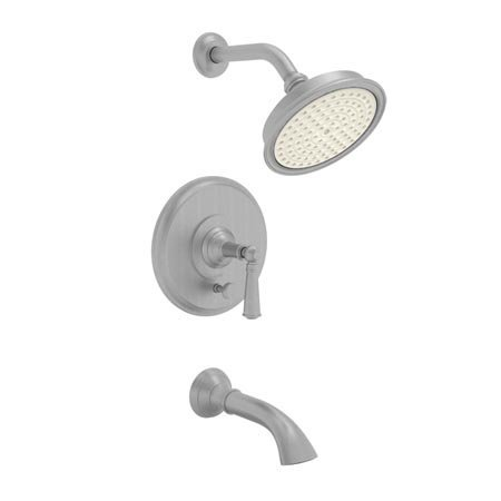 - Newport Brass 3-2412BP/15S Aylesbury Single Handle Tub and Shower Valve Trim with Tub Spout, Showerhead, and Lever Handle, Satin Nickel