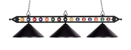 Elk 190-1-Bk-M Designer Classics 3-Light Billiard Light, 14-Inch, Matte Black With Metal Shades