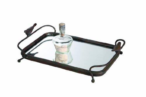 Dresser Metal Mirror - Creative Co-op DE2761 Metal Mirrored Tray with Bird Handles