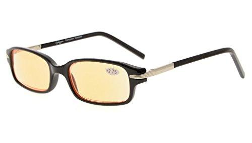 Eyekepper Spring Temple Classic Computer Reading Glasses UV Protection, Anti Glare Eyeglasses, Anti Blue Rays Readers (Black Frame/ Orange Tinted Lenses) +0.75