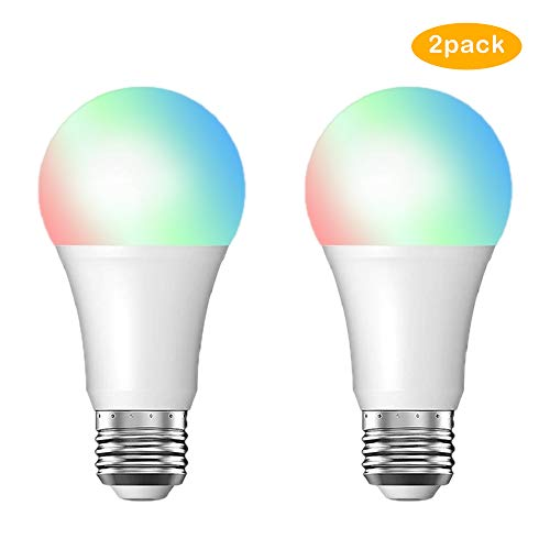 WiFi Smart LED Bulb, A19 LED Smart Bulb, White/RGB, E26 7W Equivalent 60W,Compatible with Alexa and Google Assistant Without Hub for Ressidential Light Bulb(2 Pack)