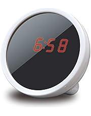 ساعة إنذار رقمي للمكياج، مرآة صغيرة محمولة متعددة الوظائف وشاشة عرض LED ليلية من ديكديل