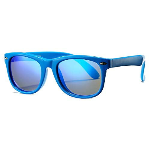 Kids Polarized Sunglasses TPEE Rubber Flexible Shades for Girls Boys Age 3-10 (Blue Frame/Blue Mirror Lens) (Kids Sunglasses)